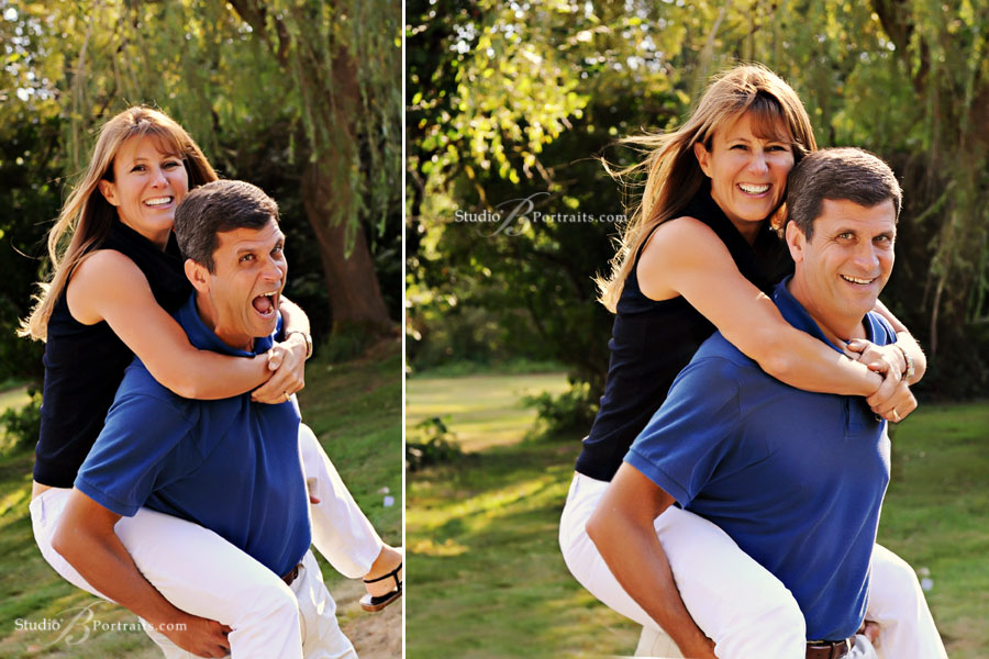 Funny-family-portraits-of-husband-and-wife-playing-piggy-back-outdoors-in-Issaquah