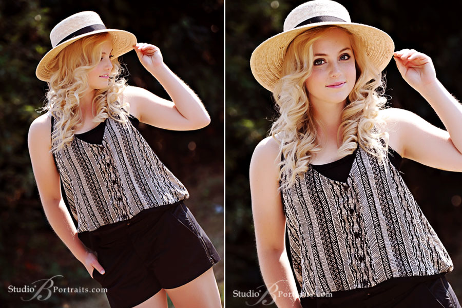 Magazine-style-senior-pictures-of-blonde-girl-in-hat-photographed-for-Studio-B-Portraits