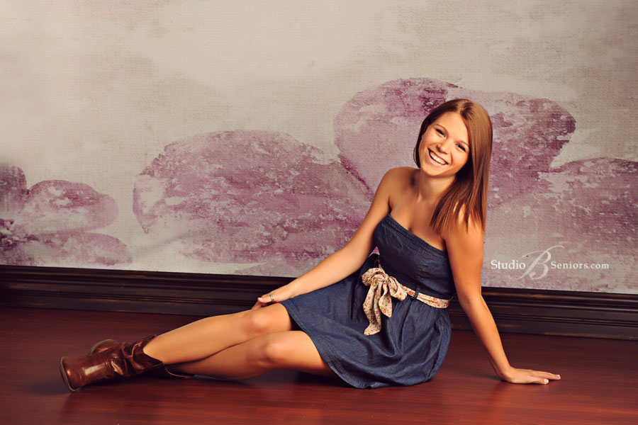 Mercer-Island-High-School-Senior-Pictures-of-pretty-girl-in-denim-dress-at-Studio-B-in-Issaquah-near-Bellevue