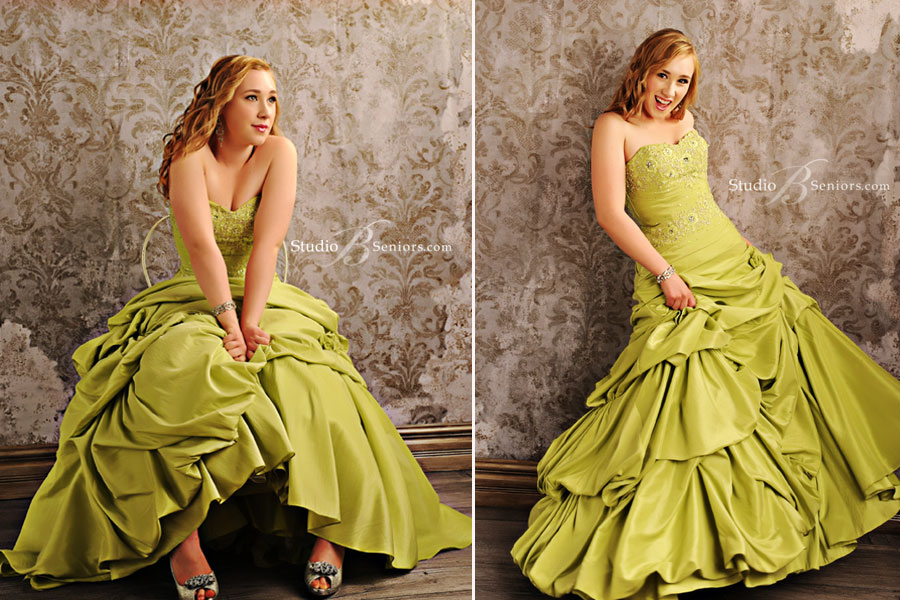 Best-Senior-pictures-of-Woodinville-senior-girl-in-green-prom-dress-at-Studio-B-in-Issaquah_2