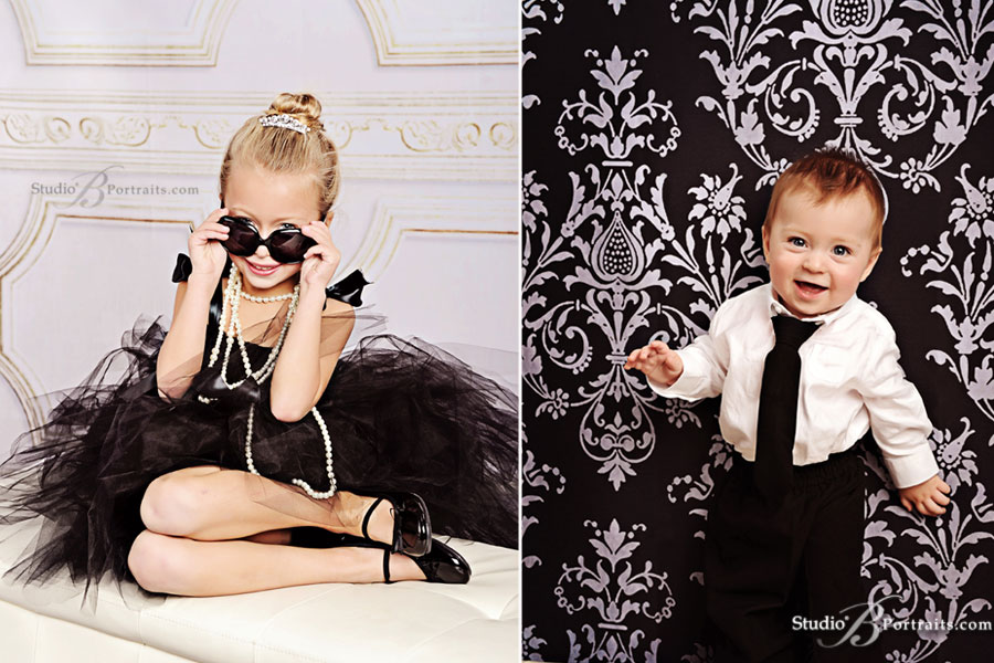 Breakfast-at-Tiffanys-themed-family-portrait-of-little-girl-and-boy-at-Studio-B-Portraits