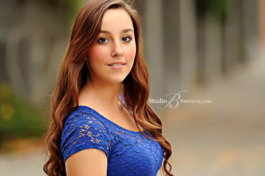 Fashion-senior-pictures-of-pretty-Seattle-girl-in-blue-dress-at-Studio-B-Issaquah