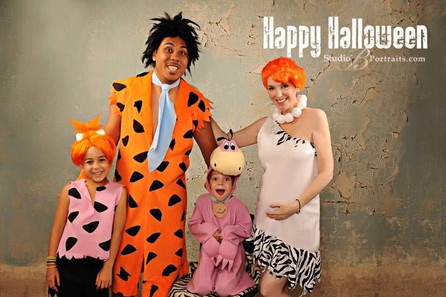 Halloween Family Portrait featuring the Clark's as the Flintstones at Studio B Issaquah