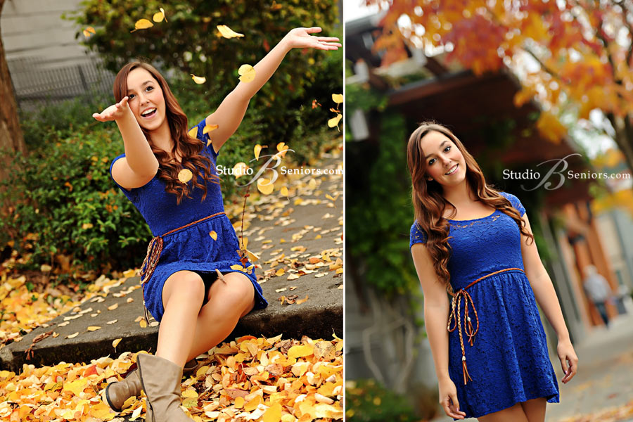 Senior-pictures-playing-in-the-fall-leaves-at-Studio-B-Issaquah-near-Bellevue-WA