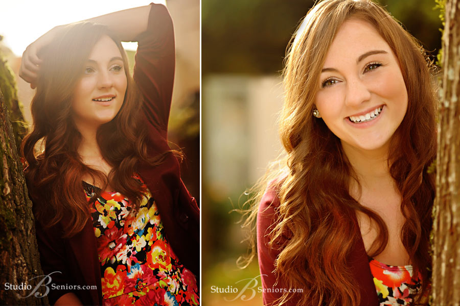 Best-senior-pictures-of-Kings-HIgh-School-girl-by-tree-in-fall-at-Studio-B-in-Issaquah