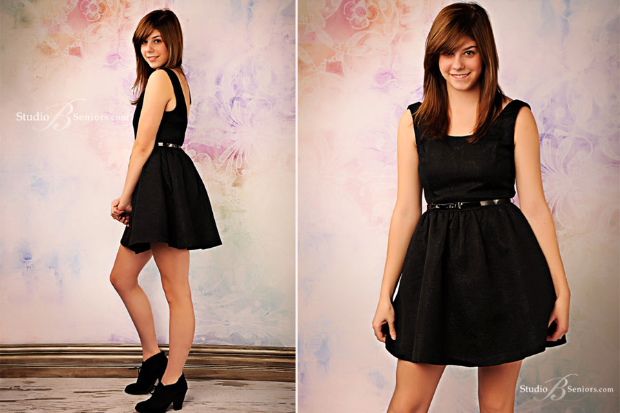 Great-high-school-senior-pictures-of-Eastside-Catholic-girl-in-black-party-dress-at-Studio-B-Portraits