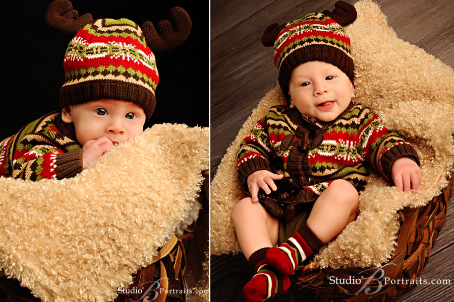 Holiday-baby-portraits-of-4-month-old-boy-in-Reindeer-hat-at-Studio-B-Issaquah