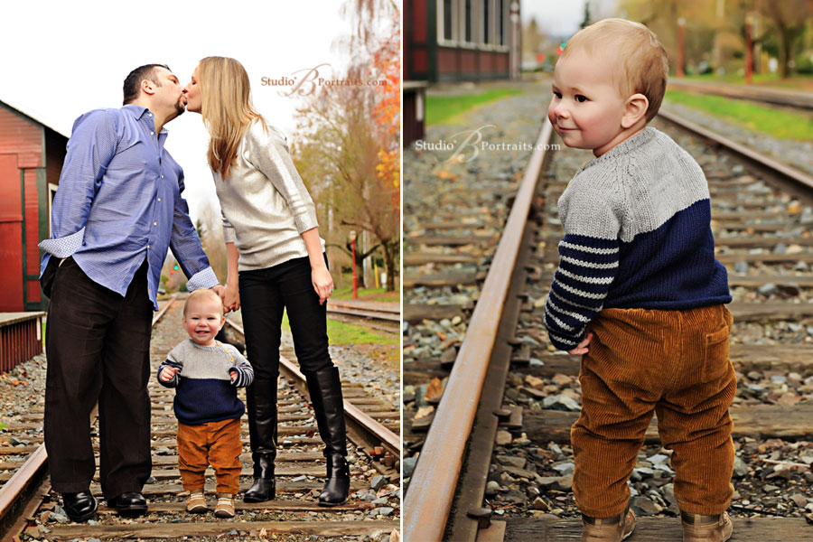 Awesome-outdoor-family-pictures-of-couple-kissing-with-baby-at-Studio-B-Portraits-Bellevue