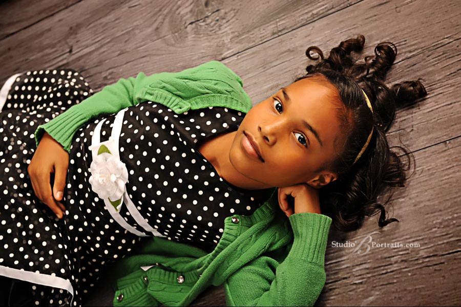 Beautiful-childrens-picture-of-African-American-girl-in-polka-dot-dress-at-Studio-B-Portraits