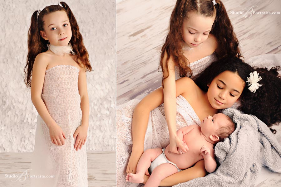 Best-childrens-photographer-in-Seattle_three-kids-in-angel-white-at-Studio-B-Portraits