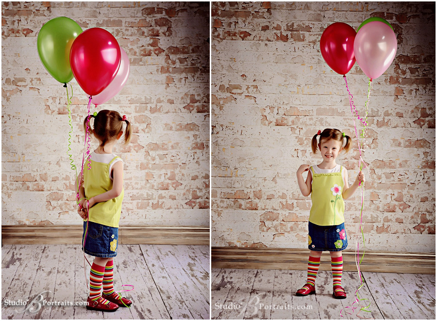 4 year old girl with balloons_Studio B Portraits photographed by Brooke Clark near Seattle