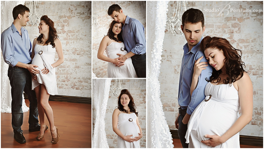 Near seattle maternity portraits with pretty couple in front of brick wall and chandelier at studio b portraits
