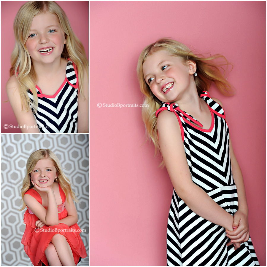 Best childrens photographer_4 year old blonde in modern striped black and white dress
