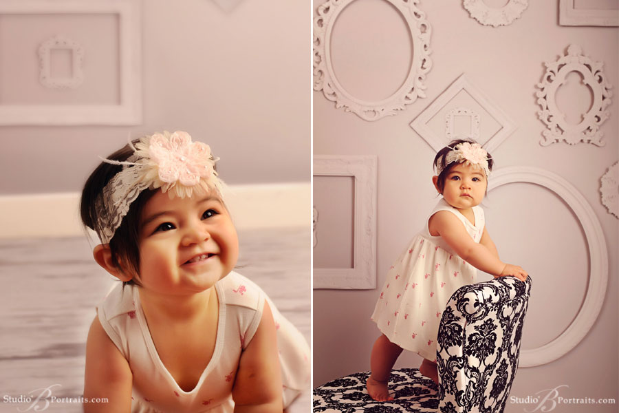 Pretty-Baby-girl-in-burberry-dress-and-headband-at-Studio-B-Portraits
