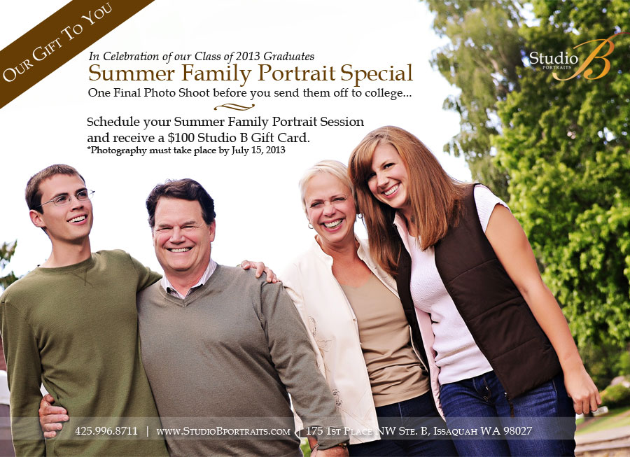 Family pictures special at Studio B Portraits in Issaquah