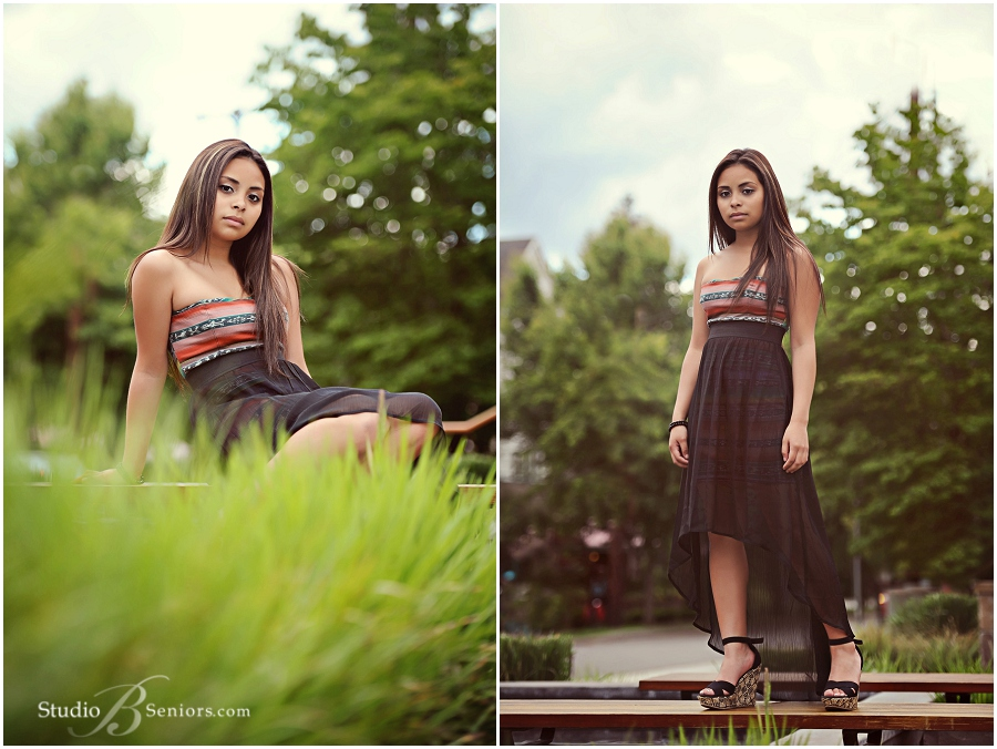Best Girl Senior Pictures wearing pretty black dress in the grass_Studio B Portraits_0009.jpg
