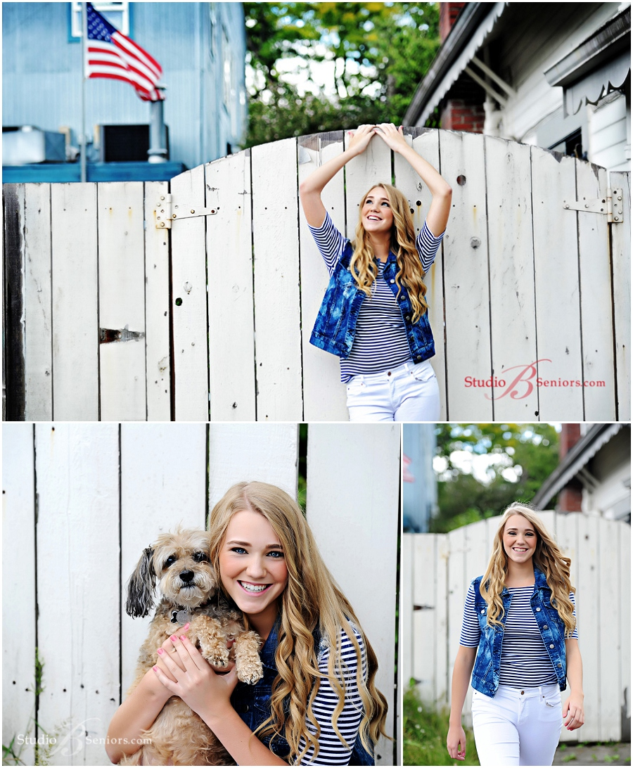 Senior pictures Skyline High School girl in striped top with American flag theme and dog_Studio B_0028.jpg