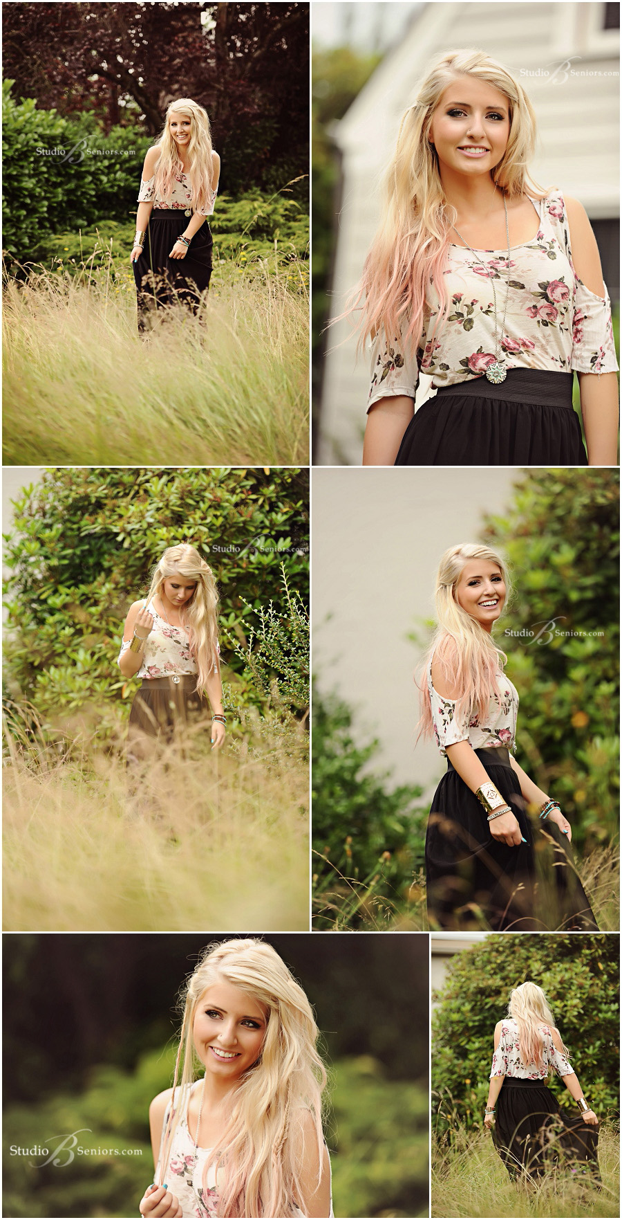Senior pictures of blonde girl in boho chic black skirt and peasant dress in field at Studio B