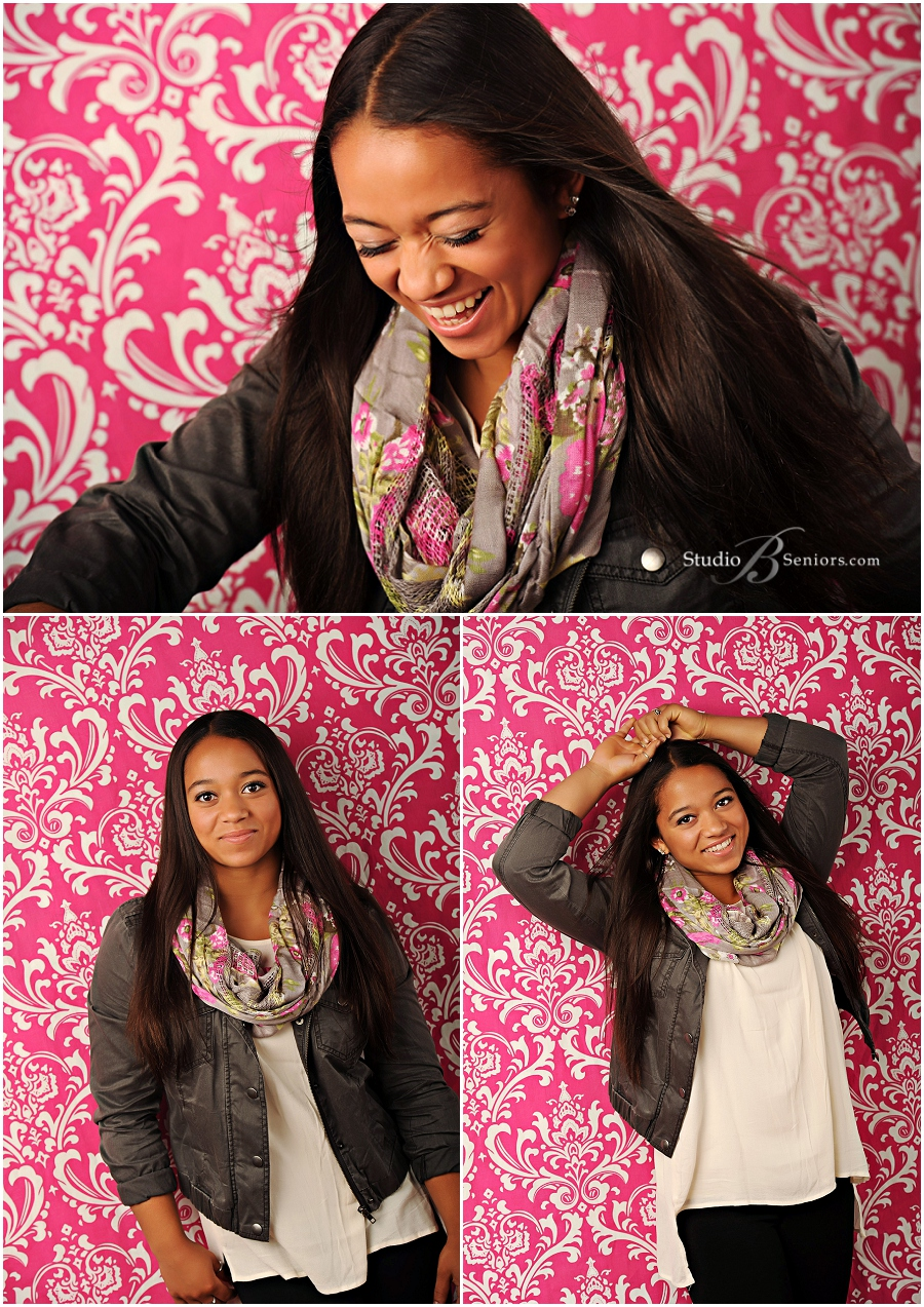 High School Senior pictures of girl in moto jacket with scarf on pink damask_Studio B Portraits_0044.jpg