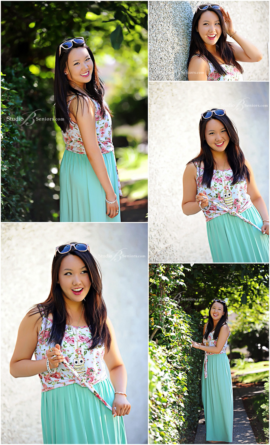 Senior pictures of Skyline High School girl wearing long green skirt outside in Issaquah WA