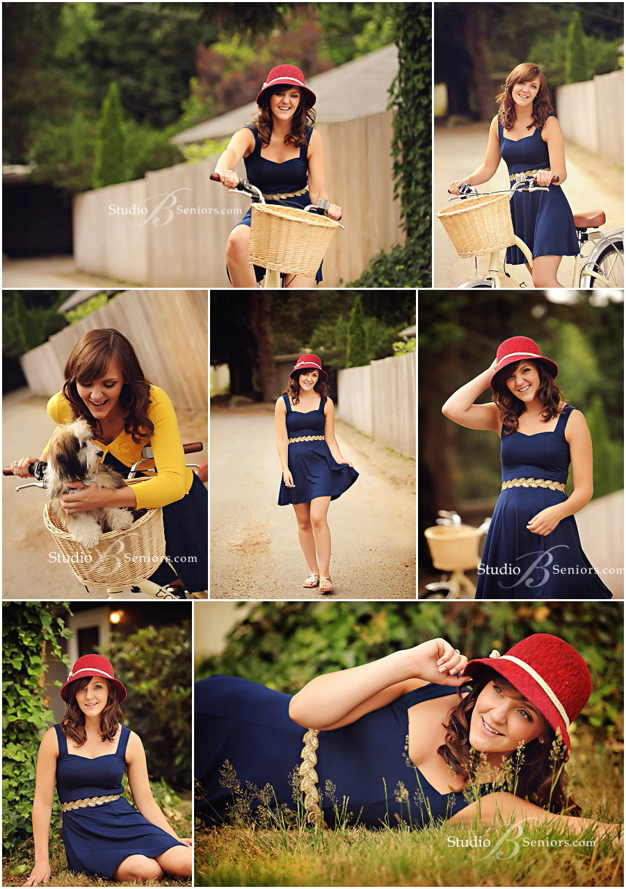Senior pictures of girl in vintage hat, blue dress and cruiser bike