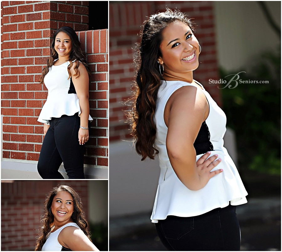 Senior pictures of pretty Indian girl in peplum black and white shirt_Studio B Portraits_0036.jpg