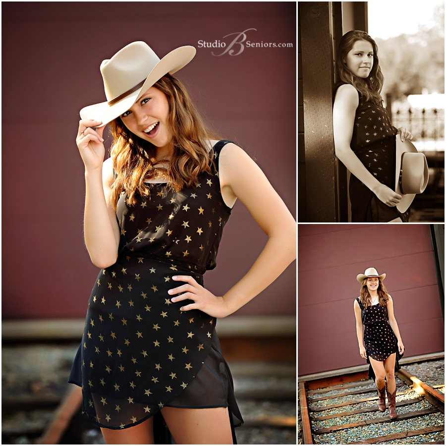 Bellevue Senior Pictures of pretty girl in cowboy hat and star dress_StudioB_0065.jpg