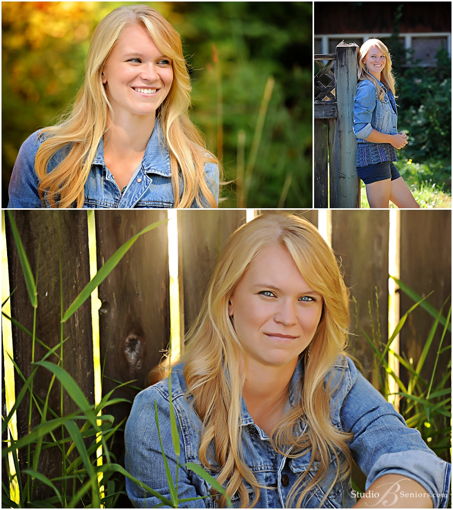 Outdoor girl senior pictures of blonde in denim by fence_Studio B Issaquah_0052.jpg