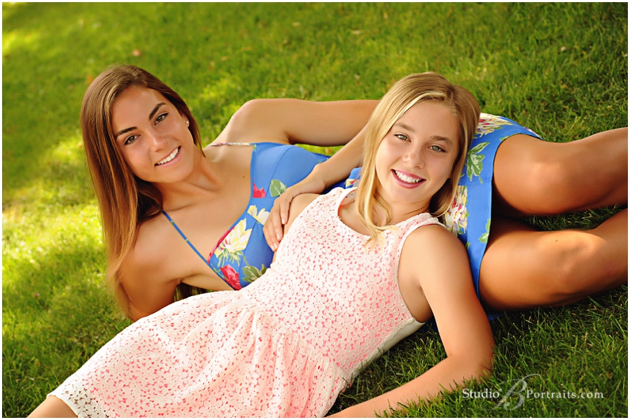 Two teen girls in Summer dresses for Outdoor Family Portraits