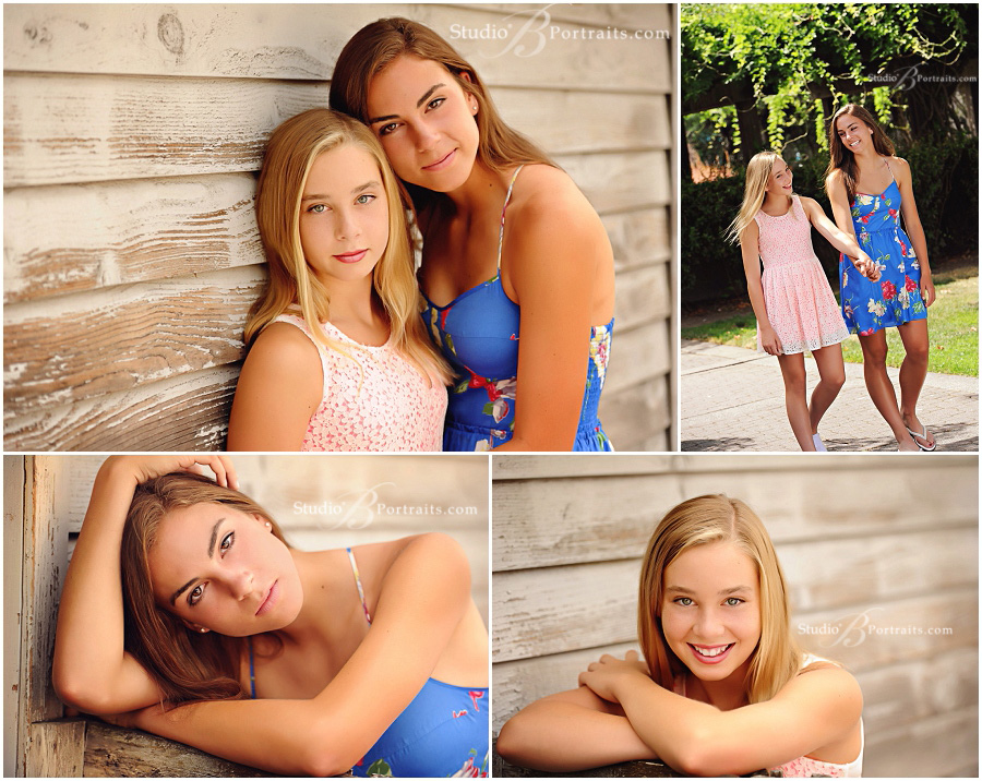 Two teen girls in Summer dresses for Outdoor Family Portraits at Studio B in Issaquah WA