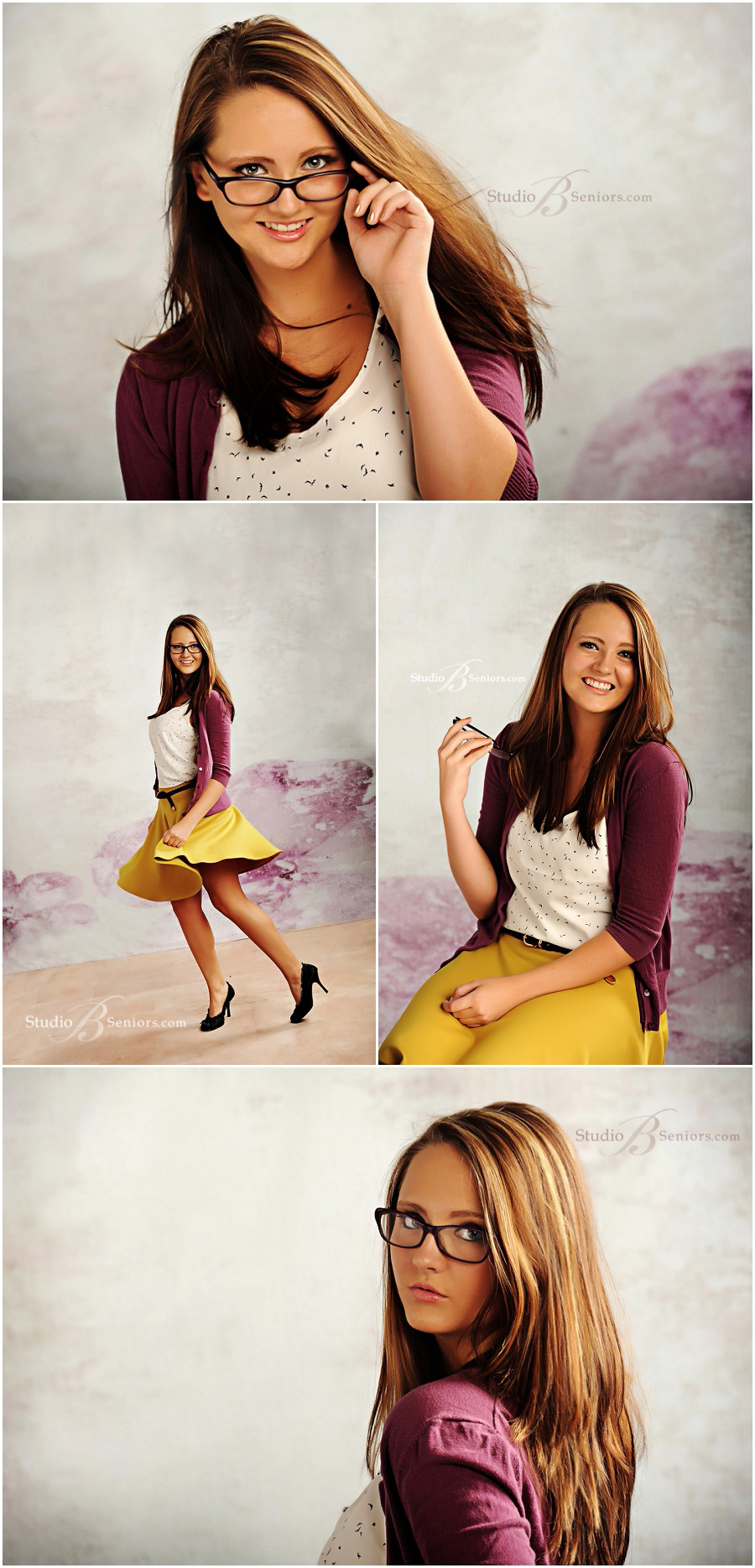 Girl Senior Pictures in purple sweater and yellow skirt__Brooke Clark_Studio B Portraits_0102.jpg