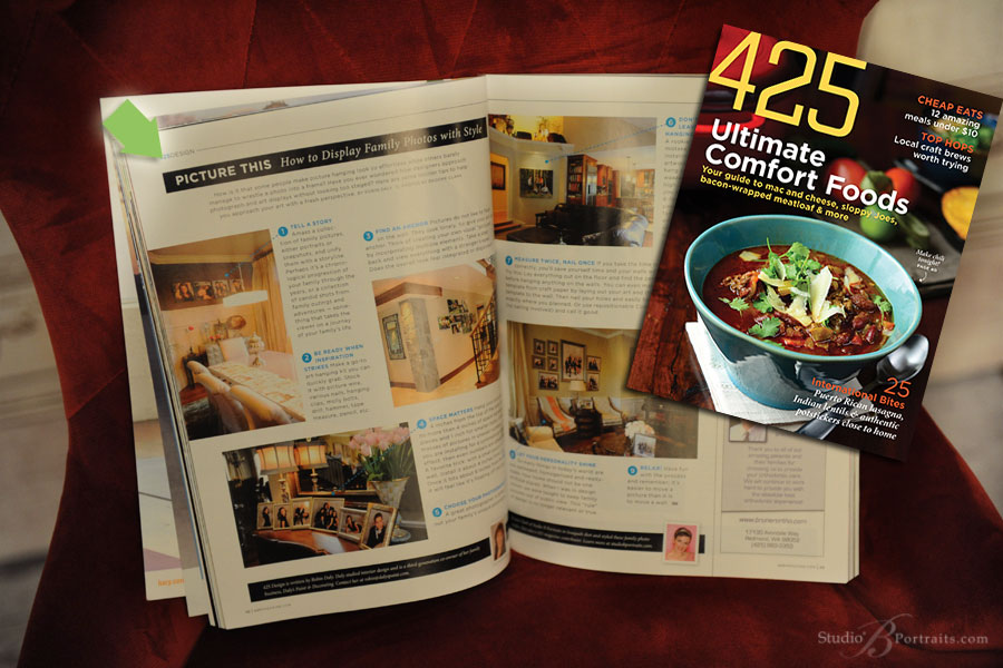 Decorating-with-family-pictures-article-in-425-Magazine-featuring-Studio-B-Portraits