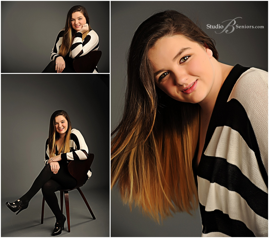 Senior pictures of girl in black and white stripe sweater__Brooke Clark_Studio B Portraits_0113.jpg