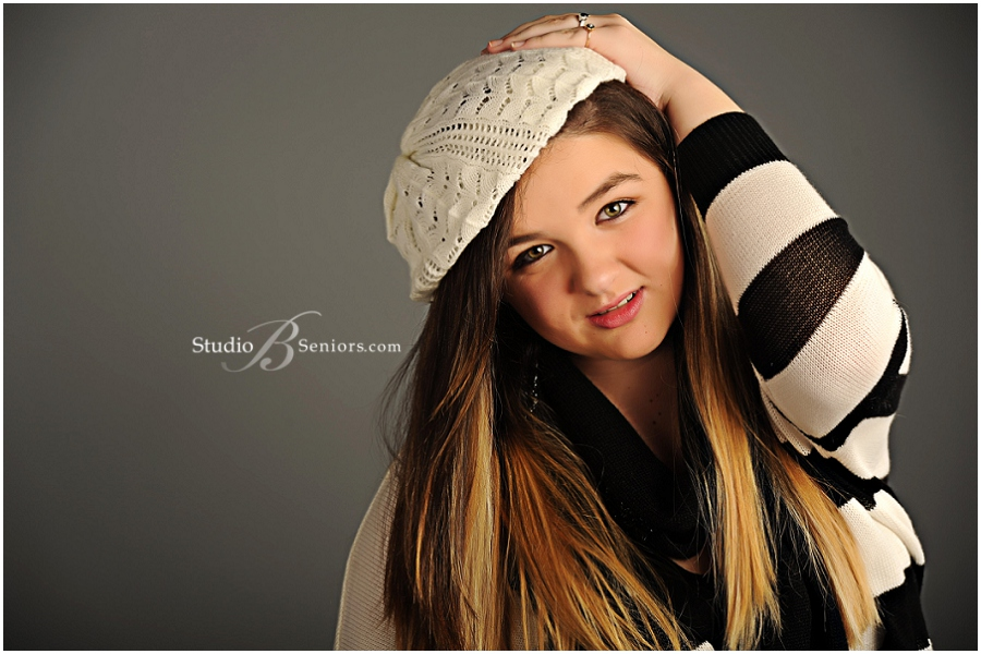 Senior pictures of girl in black and white stripe sweater__Brooke Clark_Studio B Portraits_0114.jpg