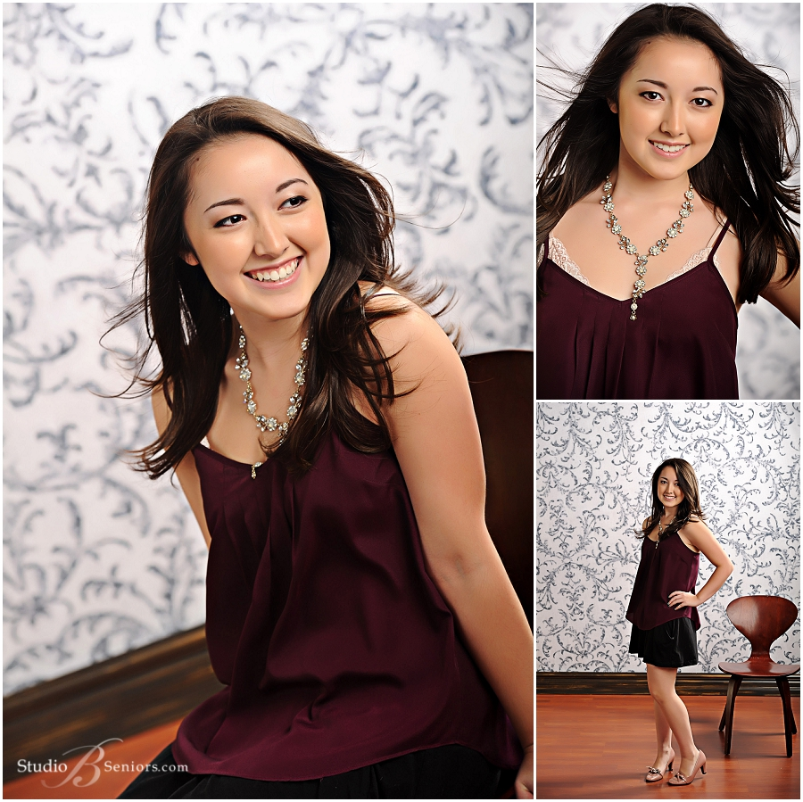 Overlake High School Senior Pictures of girl in burgundy cami__Brooke Clark_Studio B Portraits_0159.jpg