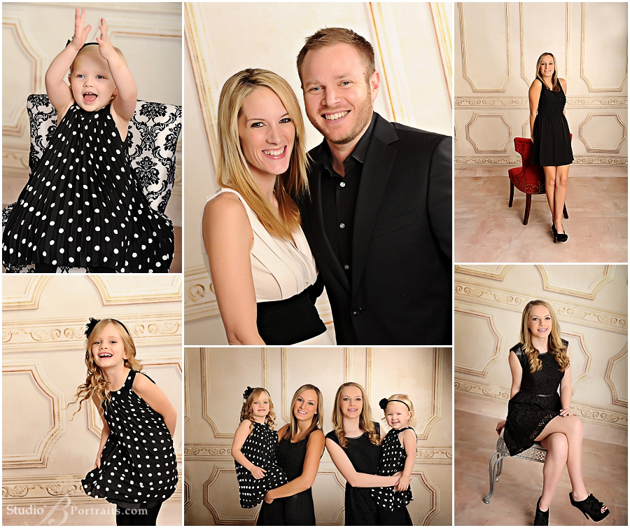 Formal Christmas Pictures of 4 daughters with Mom and Dad_Studio B Portraits_0181.jpg