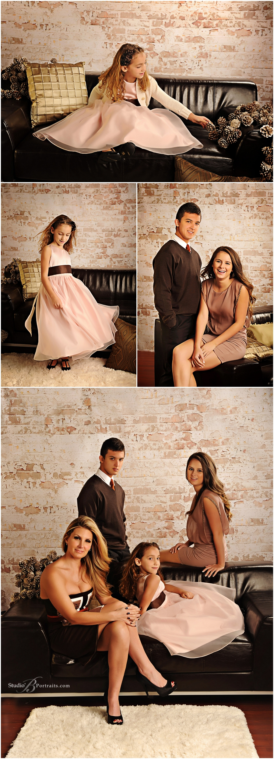 Formal family in brown and blush against brick wall__Brooke Clark_Studio B Portraits_0170.jpg
