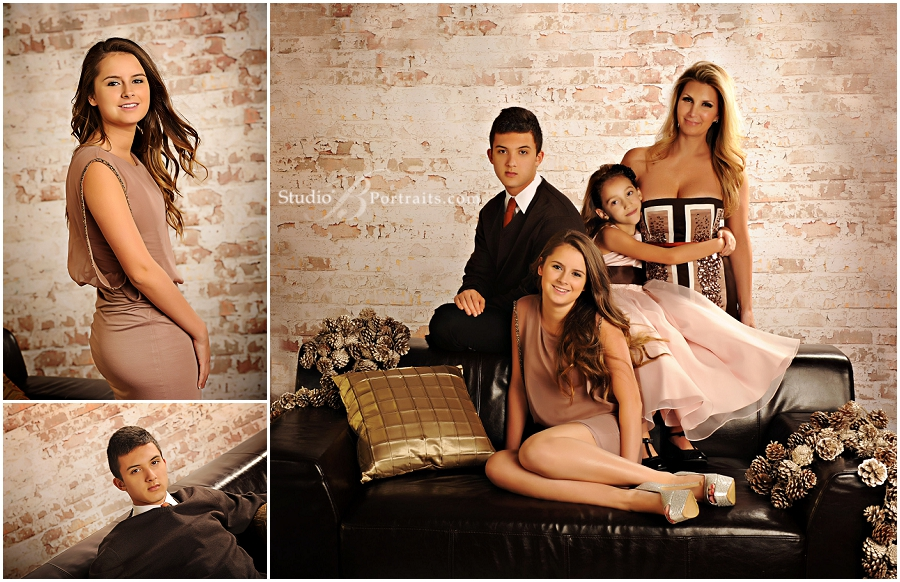 Formal family in brown and blush against brick wall__Brooke Clark_Studio B Portraits_0171.jpg