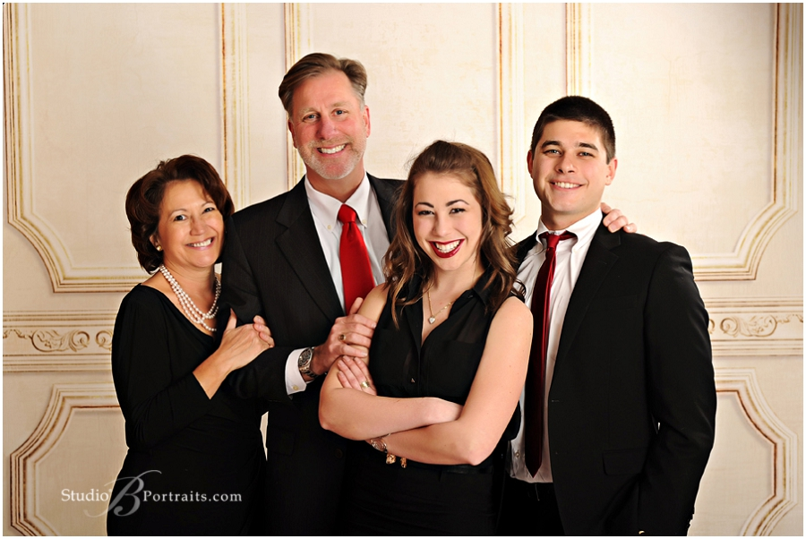Formal holiday family pictures with black, red and white colors__Brooke Clark_Studio B Portraits_0168.jpg