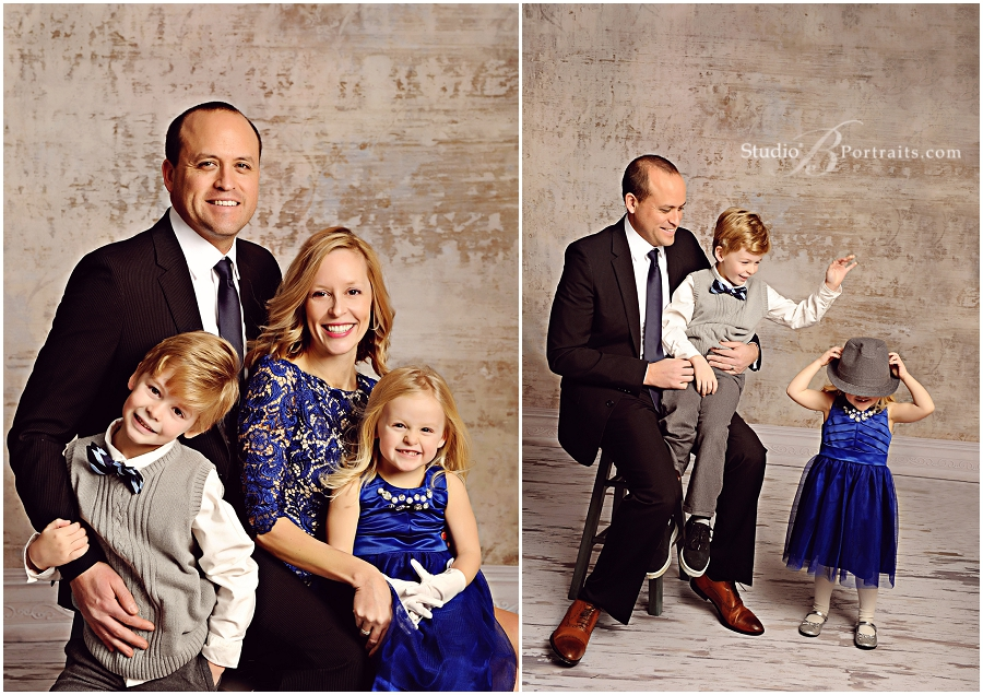 Modern family pictures of pretty couple in suit and royal blue dress_Studio B Portraits professional photographer near Bellevue_0192.jpg
