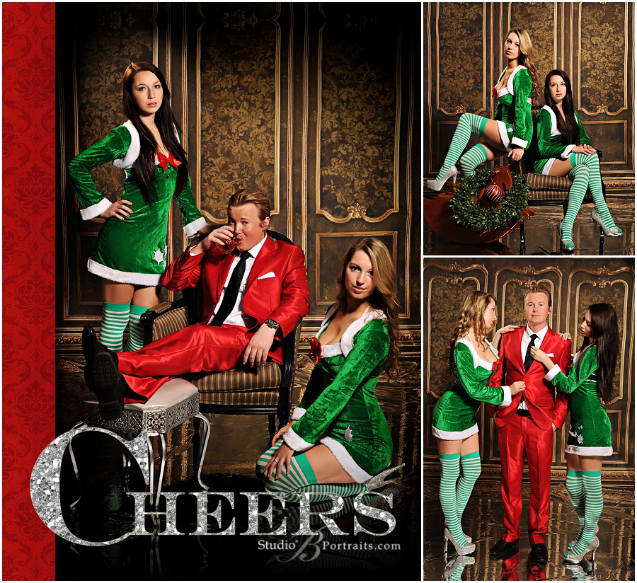 Modern guy in red Santa suit with hot model elves__Brooke Clark_Studio B Portraits_0175.jpg