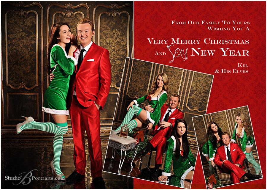 Modern guy in red Santa suit with hot model elves__Brooke Clark_Studio B Portraits_0176.jpg