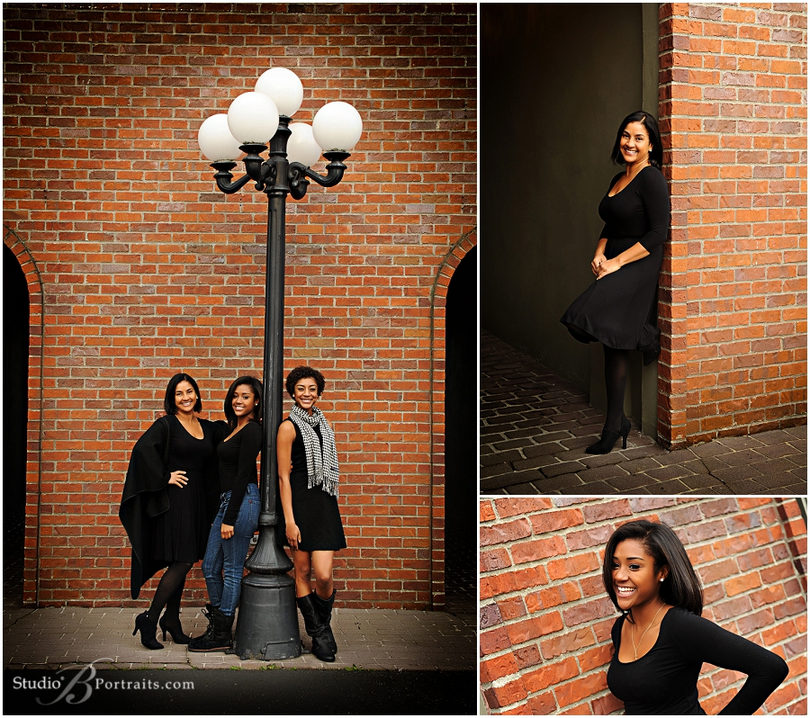 Outdoor family pictures of three beautiful African American Black sisters with Mom_Studio B_0185.jpg