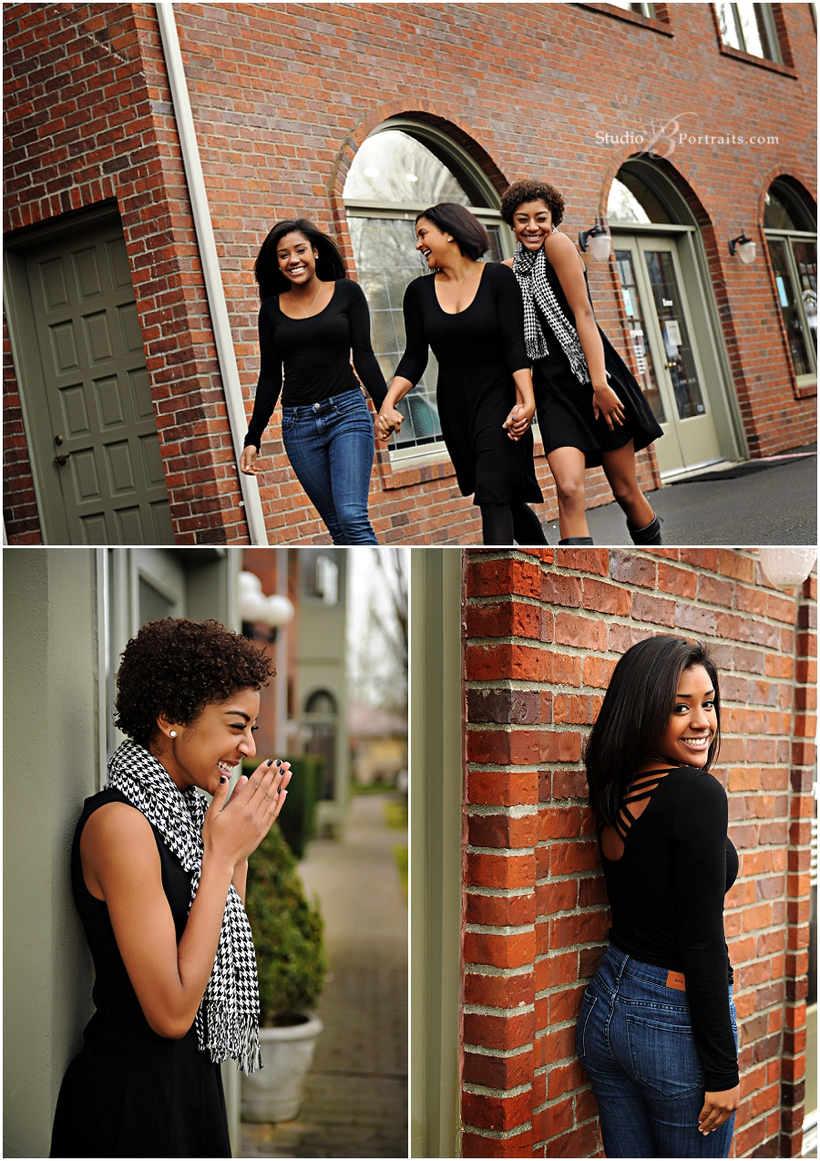 Outdoor family pictures of three beautiful African American Black sisters with Mom_Studio B_0186.jpg