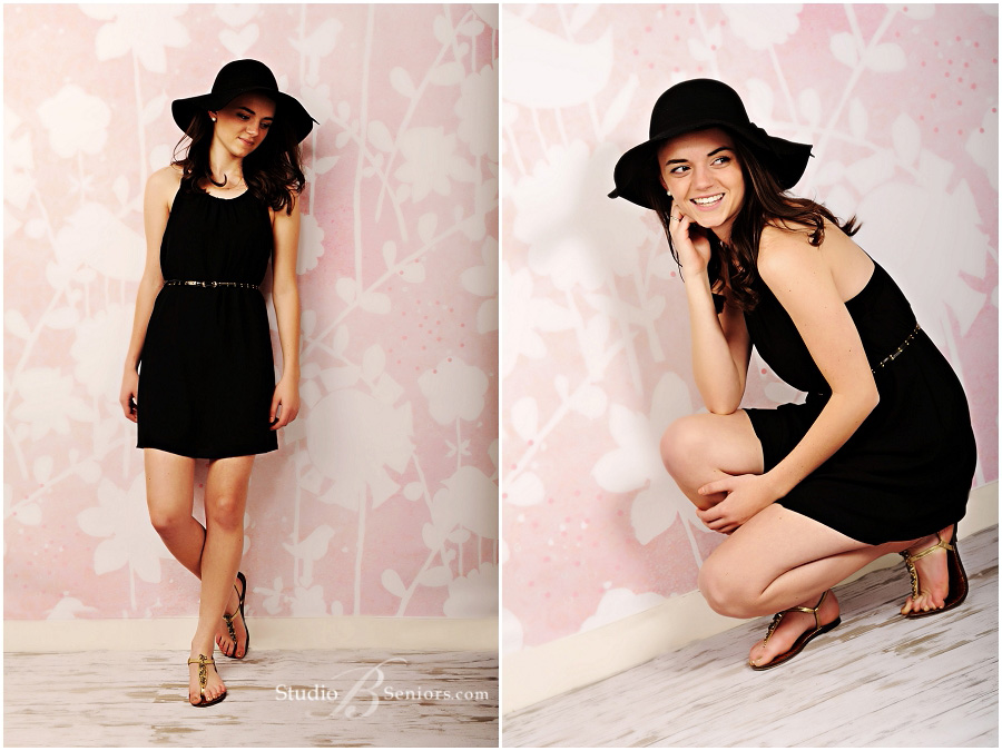 Fashion senior pictures of Seattle girl in black boho hat and dress_Studio B Portraits_0209.jpg