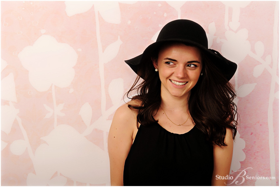 Fashion senior pictures of Seattle girl in black boho hat and dress_Studio B Portraits_0210.jpg