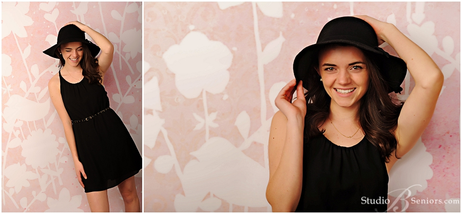 Fashion senior pictures of Seattle girl in black boho hat and dress_Studio B Portraits_0211.jpg