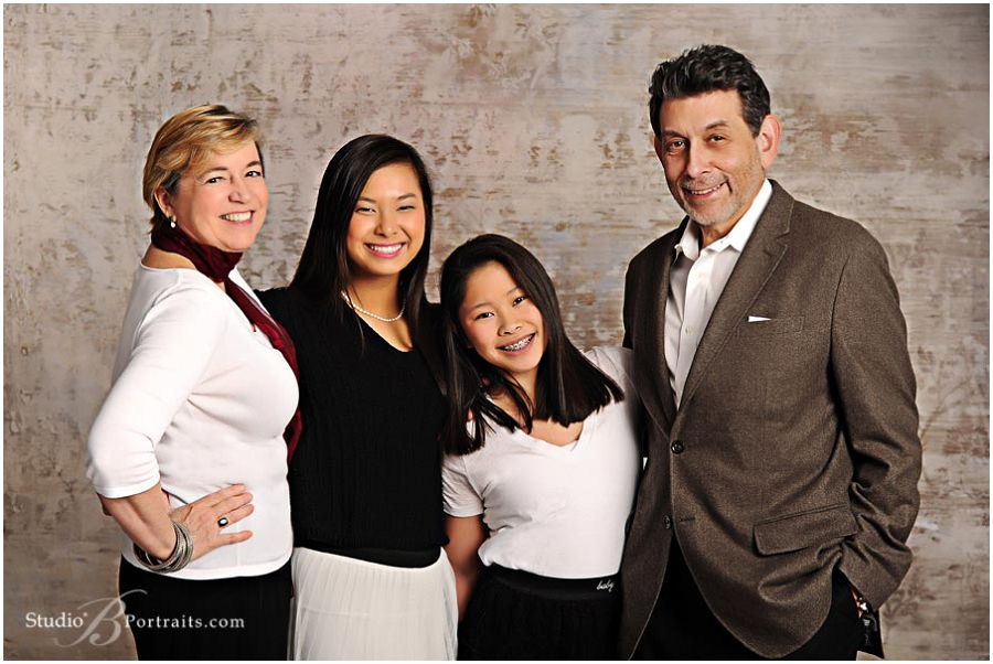 Great family portrait studio of Mercer Island family wearing black adn whtie at Studio B Portraits_0206.jpg