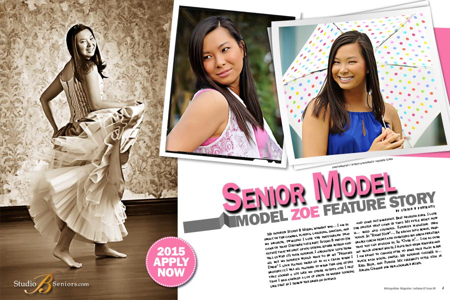 Studio B Senior Models wanted for class of 2015