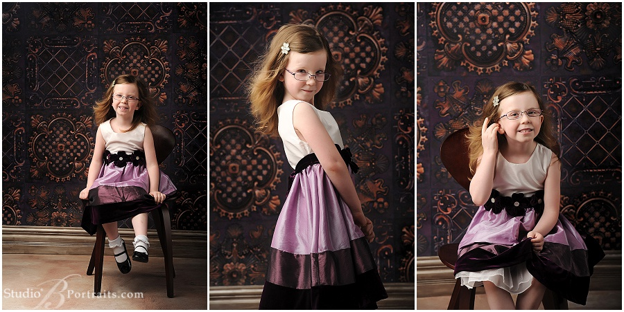 5 year old little girl in purple party dress
